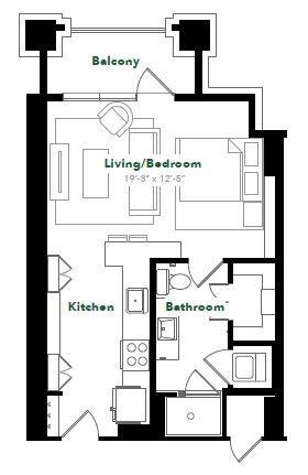 550 sq. ft. S21.1 floor plan