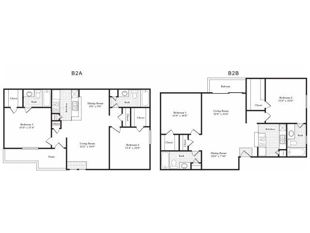 888 sq. ft. B2 I&II floor plan