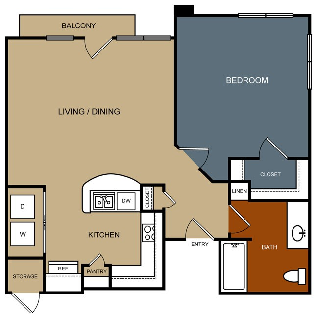 767 sq. ft. A1/60% floor plan