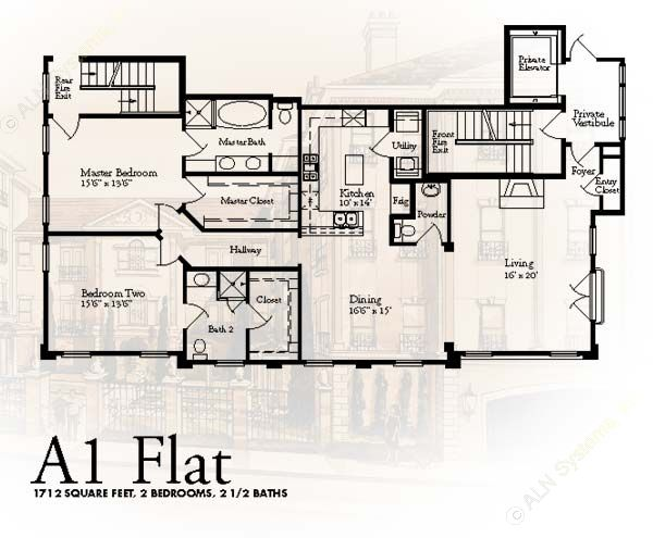 1,712 sq. ft. A1 floor plan