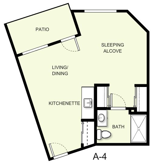 499 sq. ft. A4 floor plan
