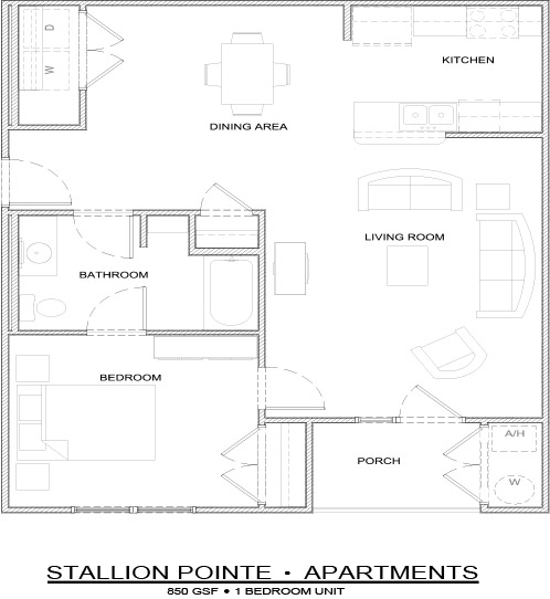850 sq. ft. 1 Bedroom/60% floor plan