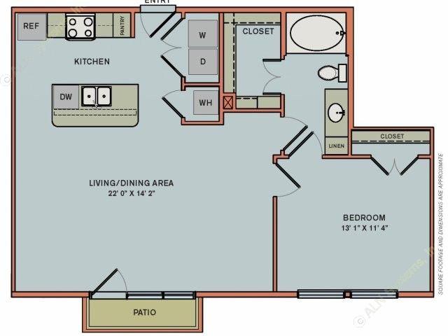 821 sq. ft. 2A2 floor plan