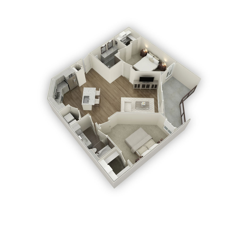 1,159 sq. ft. B2-2 floor plan