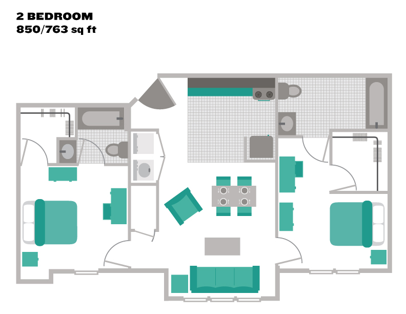763 sq. ft. to 850 sq. ft. floor plan