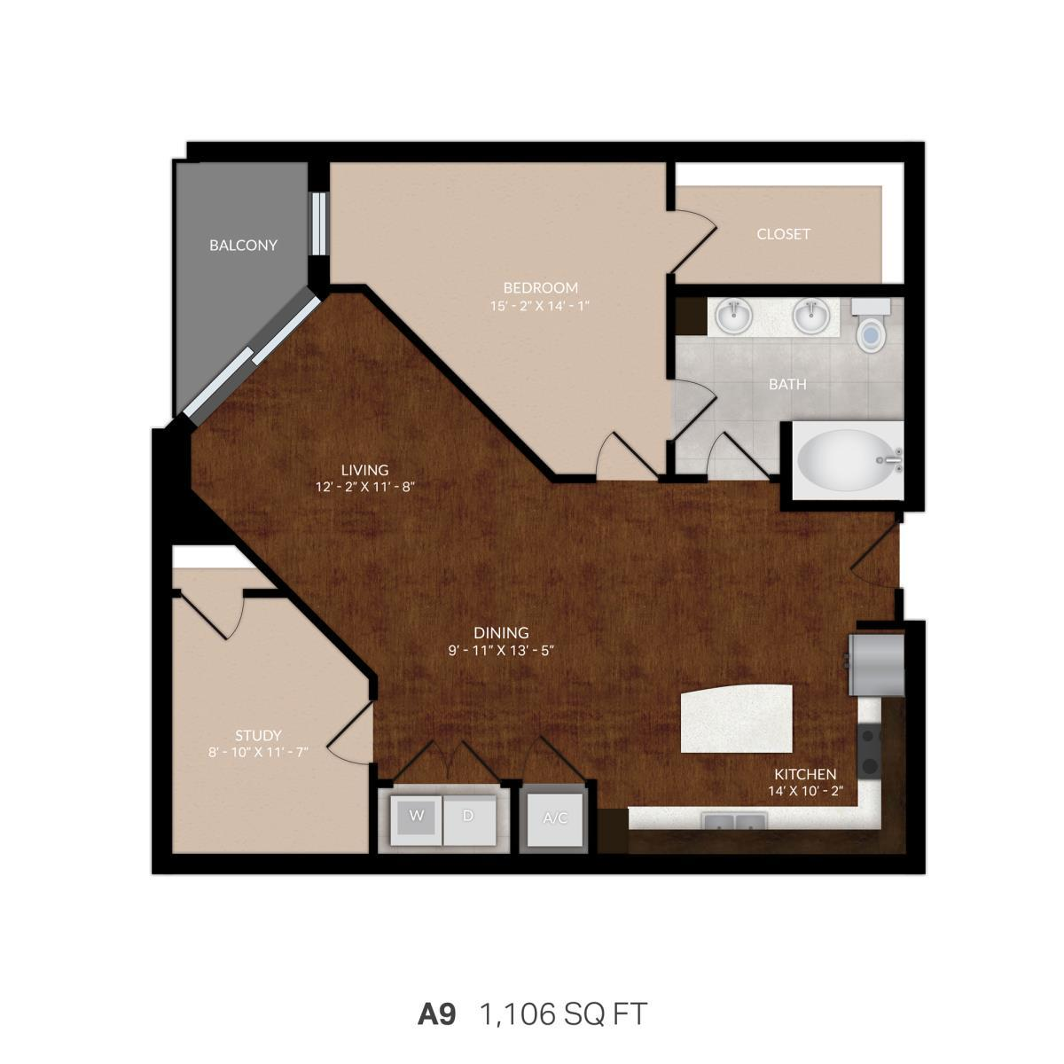 1,051 sq. ft. A9 floor plan