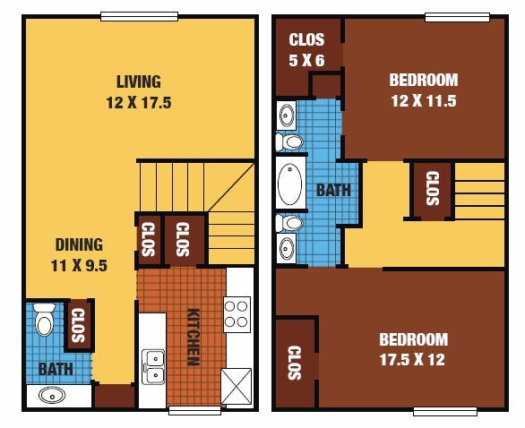 1,152 sq. ft. 60% floor plan