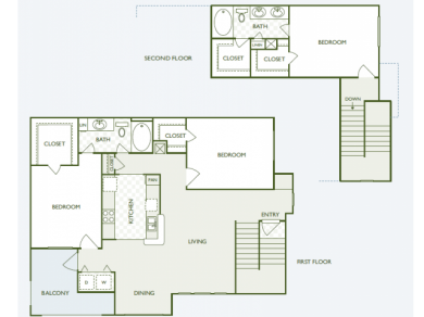1,595 sq. ft. C2.2 floor plan