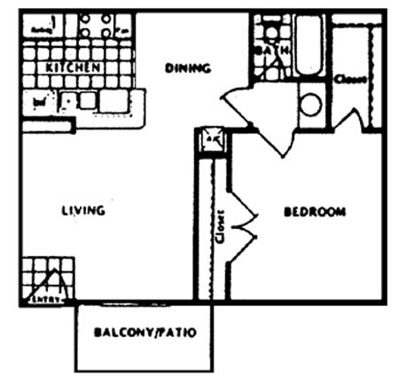 581 sq. ft. A floor plan