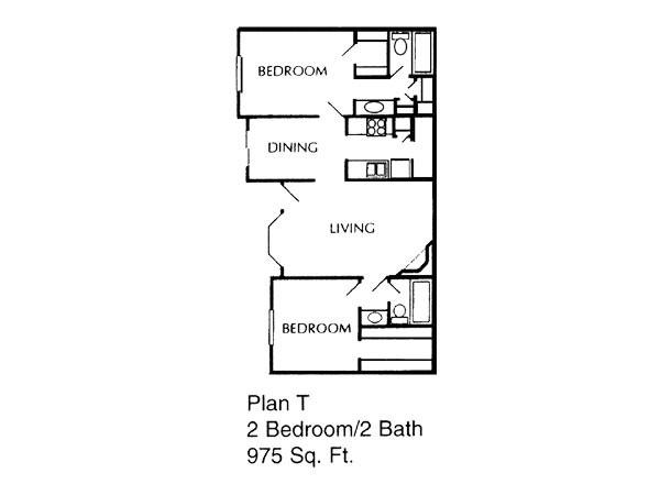 975 sq. ft. T floor plan
