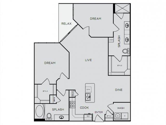1,234 sq. ft. C2 floor plan