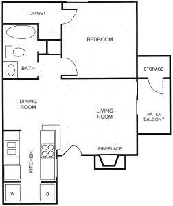 607 sq. ft. C floor plan