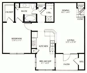856 sq. ft. A2 floor plan