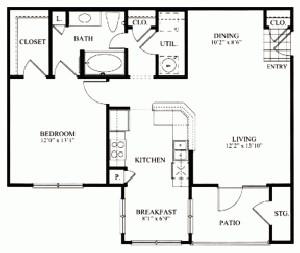 856 sq. ft. A2 floor plan