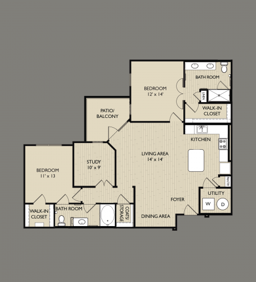 1,338 sq. ft. C2 floor plan