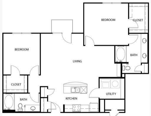 1,312 sq. ft. B3E floor plan