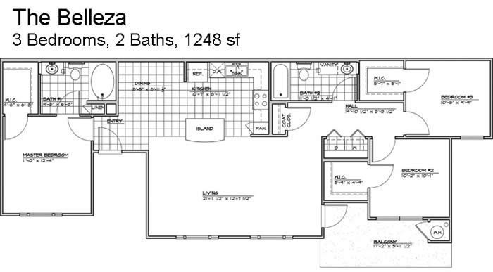 1,178 sq. ft. Belleza/60% floor plan