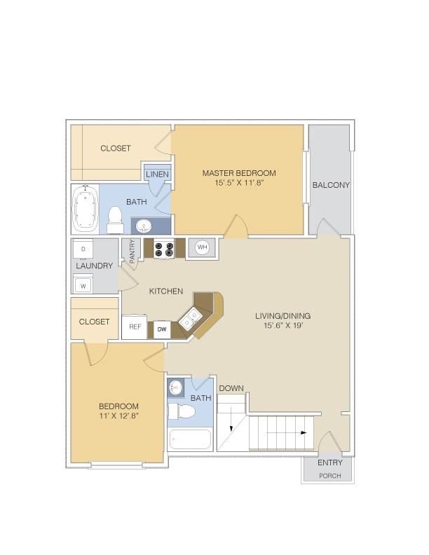 1,149 sq. ft. B1 UPPER floor plan