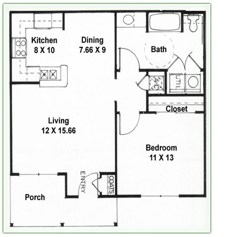 738 sq. ft. A floor plan