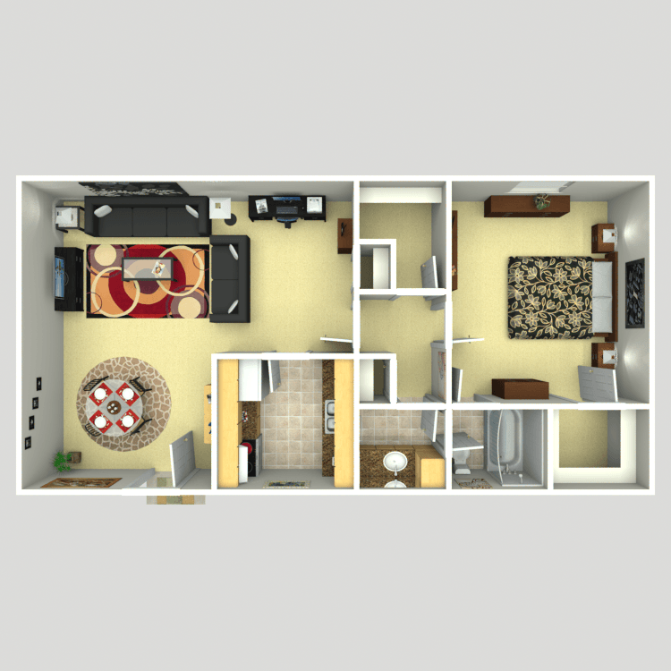 780 sq. ft. A1 floor plan