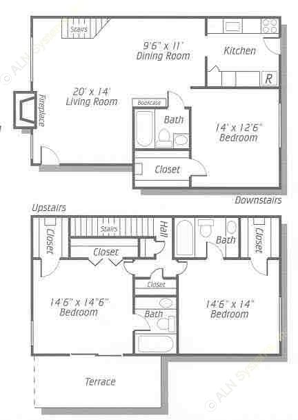 1,573 sq. ft. C2 floor plan