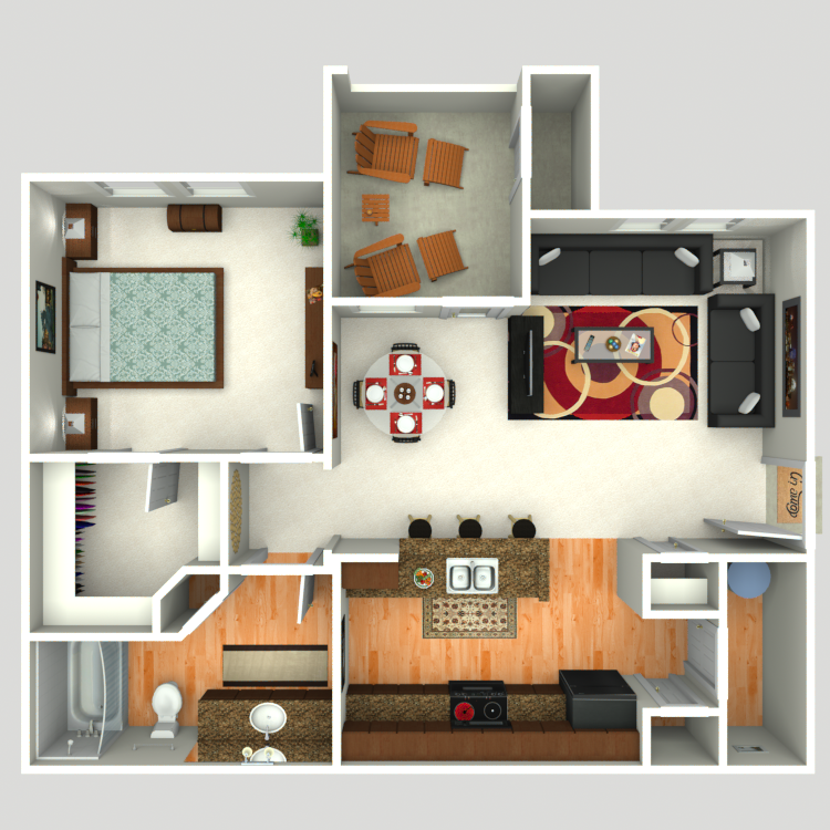 725 sq. ft. A3 floor plan