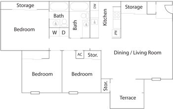 1,010 sq. ft. C1/C1R floor plan