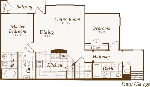 1,159 sq. ft. Marvin-Up floor plan