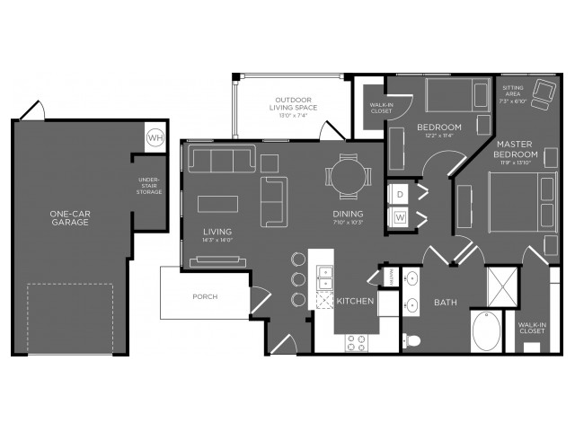 1,077 sq. ft. Ivy floor plan