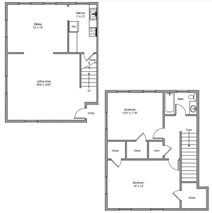 1,080 sq. ft. Kelly floor plan