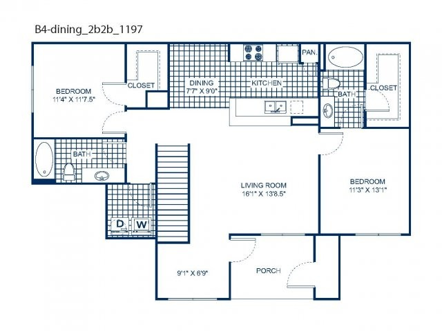 1,197 sq. ft. B4 floor plan