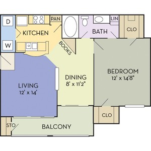 843 sq. ft. Buchanan (A1B) floor plan