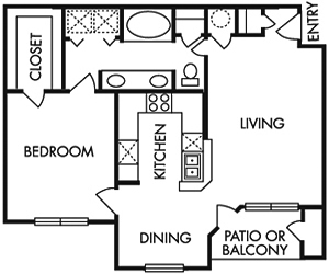 788 sq. ft. C floor plan