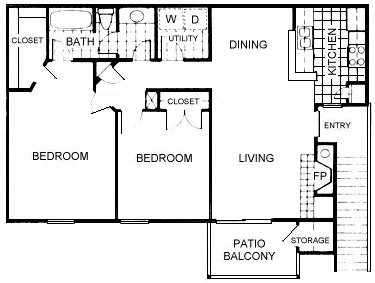 926 sq. ft. B4 floor plan