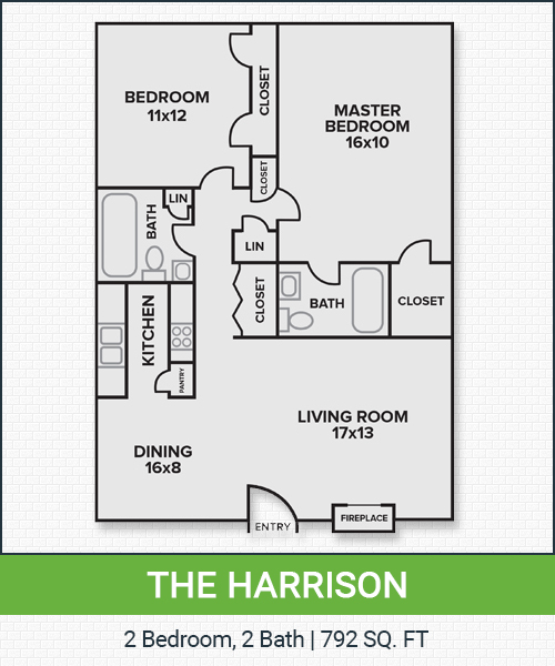 792 sq. ft. PH. I floor plan