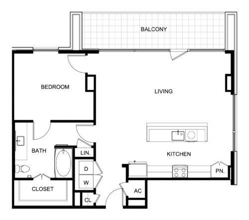 984 sq. ft. B5 floor plan