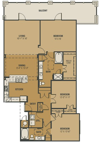 1,661 sq. ft. Castello floor plan