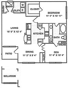 994 sq. ft. A6 floor plan