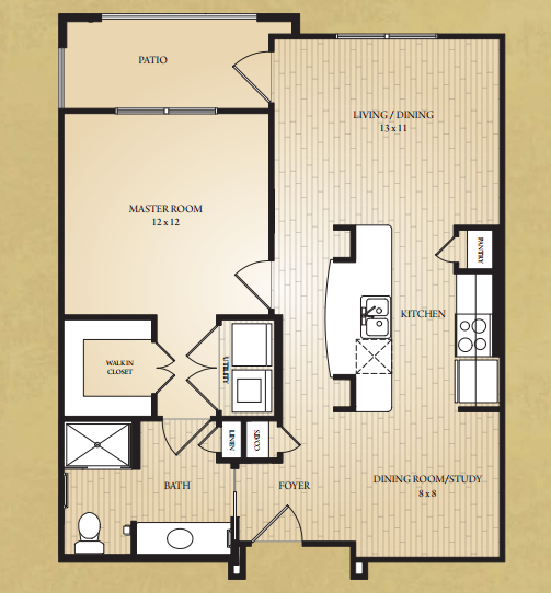 752 sq. ft. Gadalupe floor plan