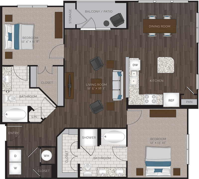 1,320 sq. ft. B5 floor plan