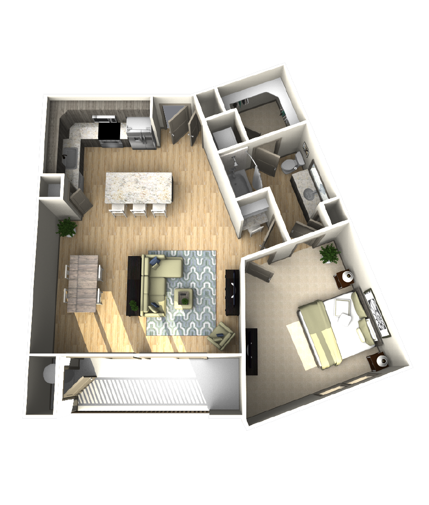 943 sq. ft. A7 floor plan
