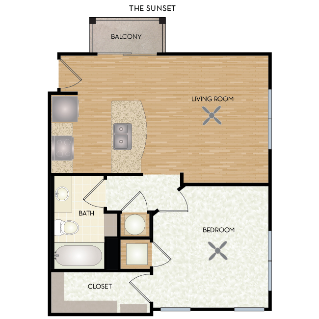 592 sq. ft. Sunset floor plan