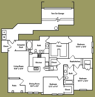1,575 sq. ft. F1* floor plan