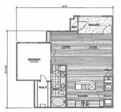 815 sq. ft. A2/Maya floor plan