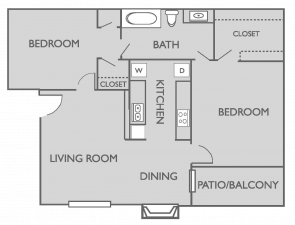 850 sq. ft. B1 floor plan