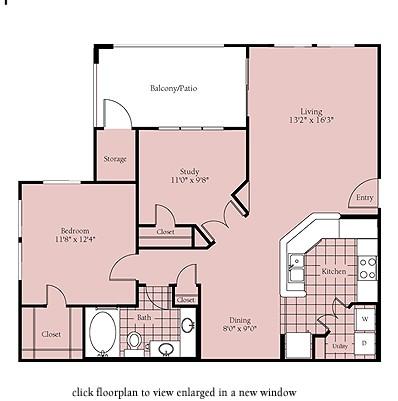 939 sq. ft. Brisbane floor plan