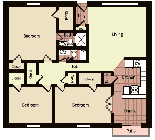 1,350 sq. ft. G floor plan