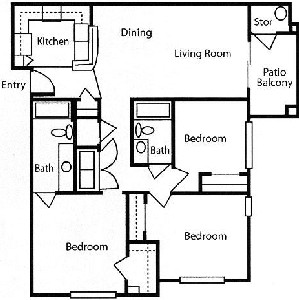 1,240 sq. ft. 60 floor plan