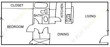 674 sq. ft. LARGEST 1BDRM floor plan