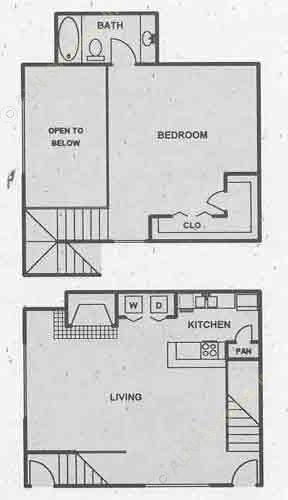 795 sq. ft. A3 floor plan